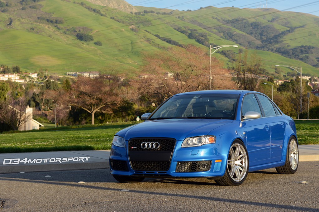 Modified Sprint Blue B7 Audi RS4 Suspension Upgrades