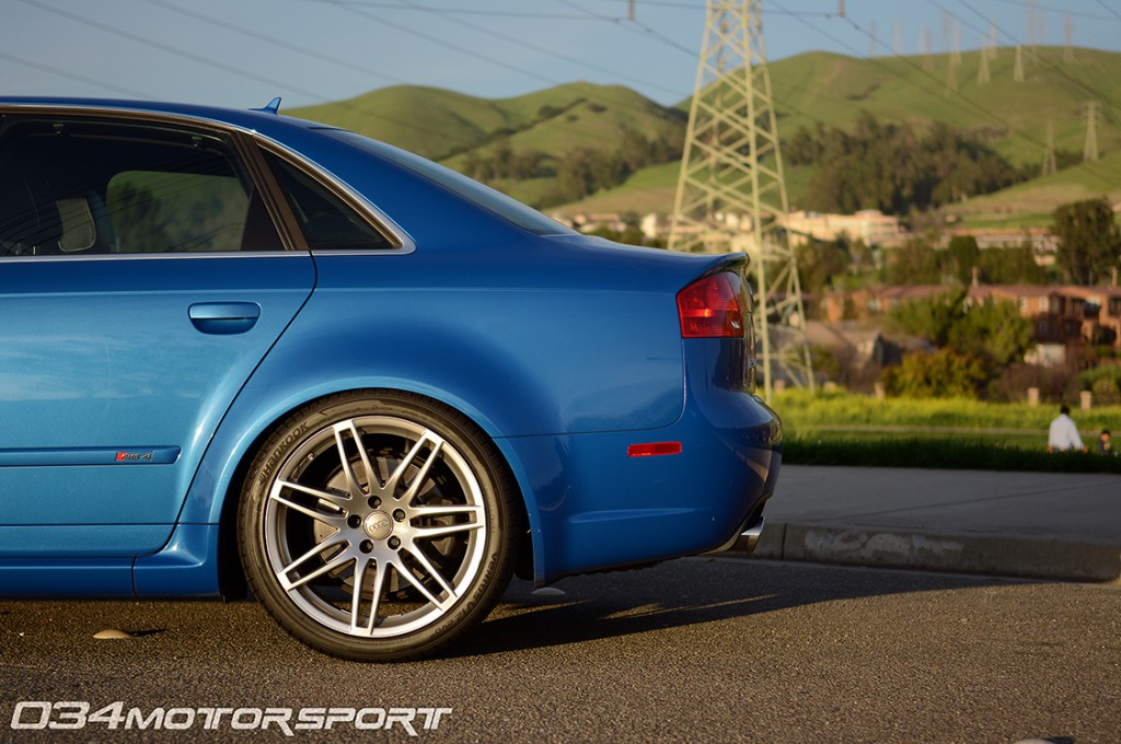 Sprint Blue B7 Audi RS4 Suspension Upgrades, Rear Sway Bar, Spherical End Links, Lowered on KW Variant 3 Coilovers