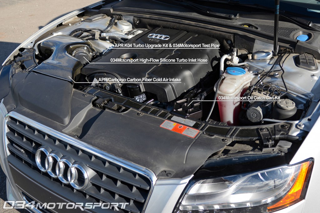 Tuned B8 Audi A5 2.0 TFSI Engine Upgrades: Test Pipe, APR K04 Turbo Kit, Carbonio Cold Air Intake, 034 Turbo Inlet Hose, 034Motorsport Catch Can Kit