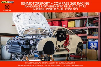 Compass 360 Racing to Field Audi TT RS in Pirelli World Challenge GTS with 034Motorsport as Technical Partner