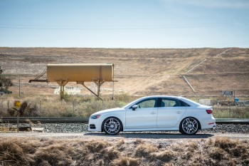 Glacier White Metallic Audi S3 Suspension Upgrades & Performance Exhaust