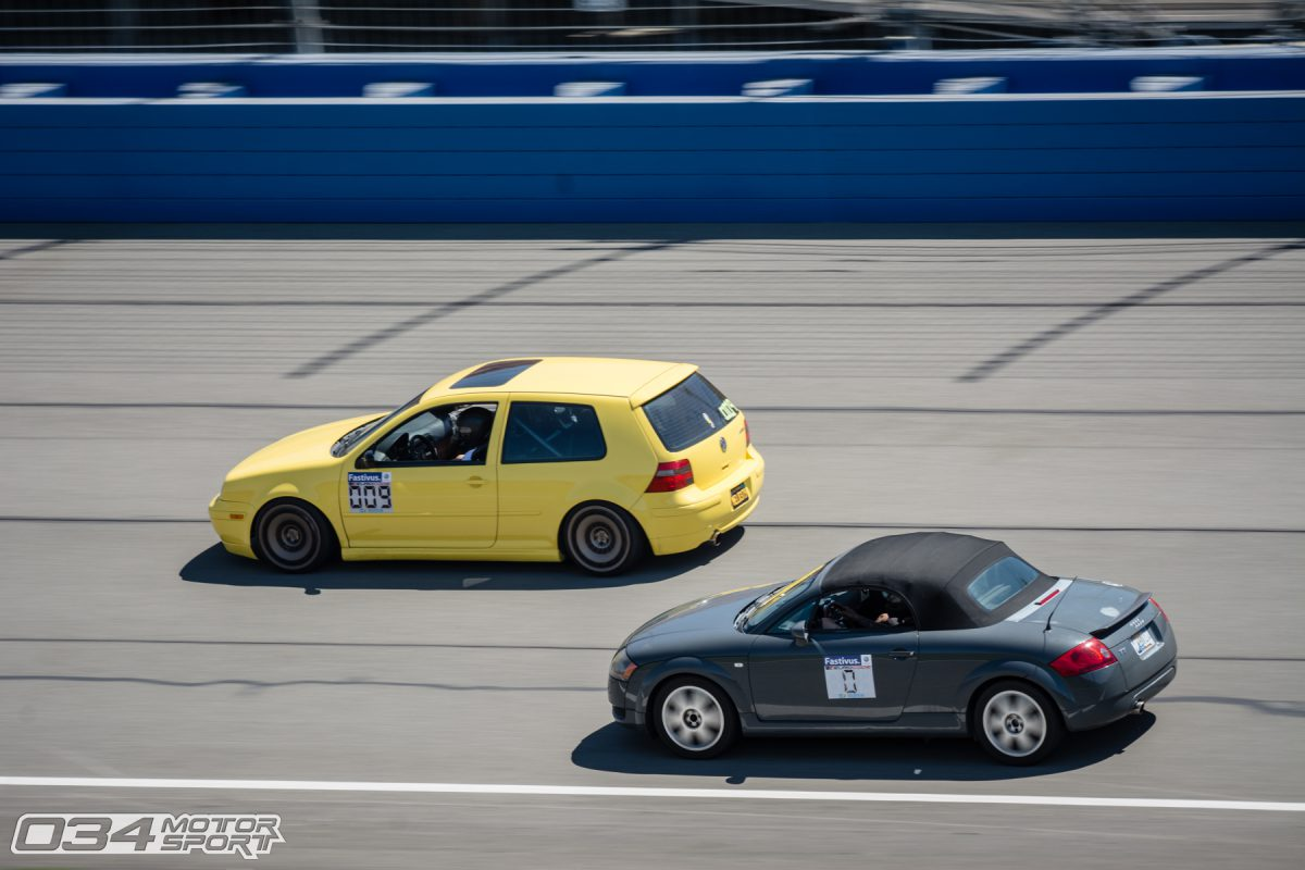 MkIV GTI and 8N Audi TT driving Auto Club Speedway Roval