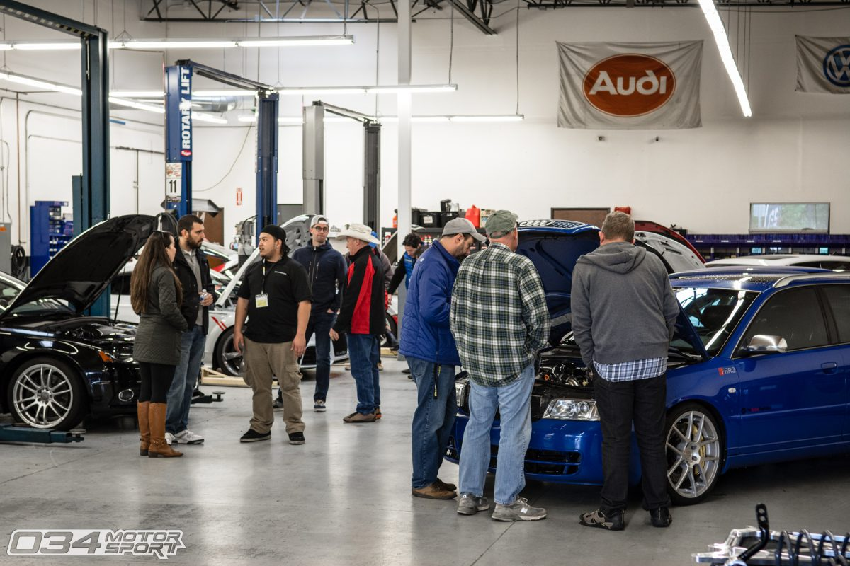 Crowds look at modified Audi and Volkswagen Cars at 034Motorsport