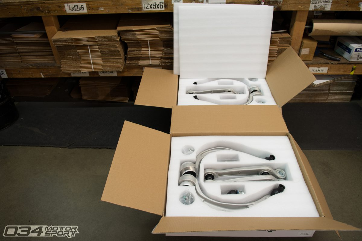 B8 Density Line Control Arm kits in Shipping Department