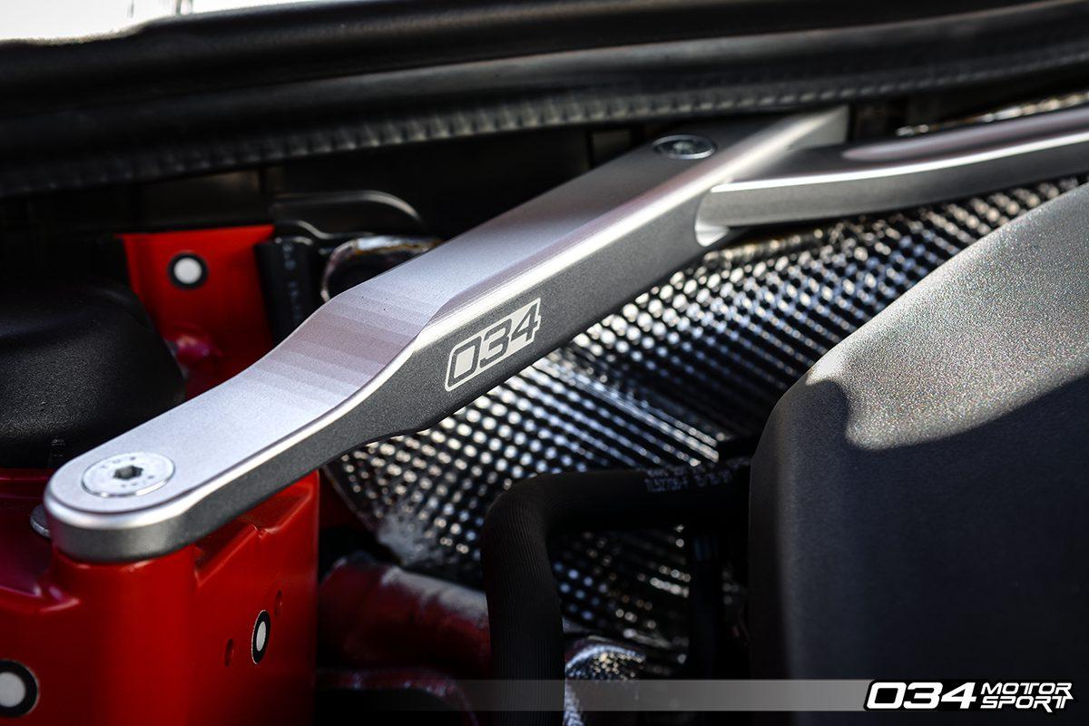 Quality Finish on Billet Aluminum B9 Audi Front Strut Brace
