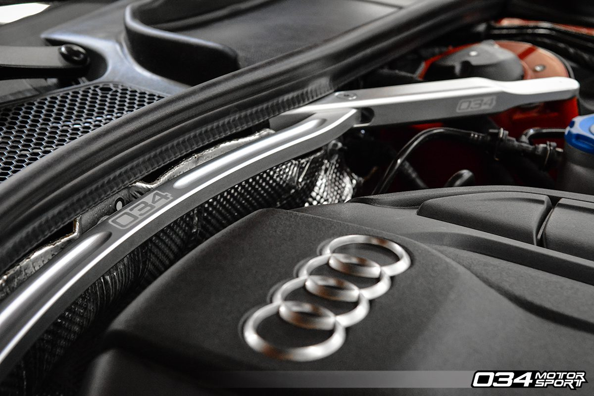 Billet Aluminum Strut Brace Installed on Audi B9 A4 2.0T Quattro