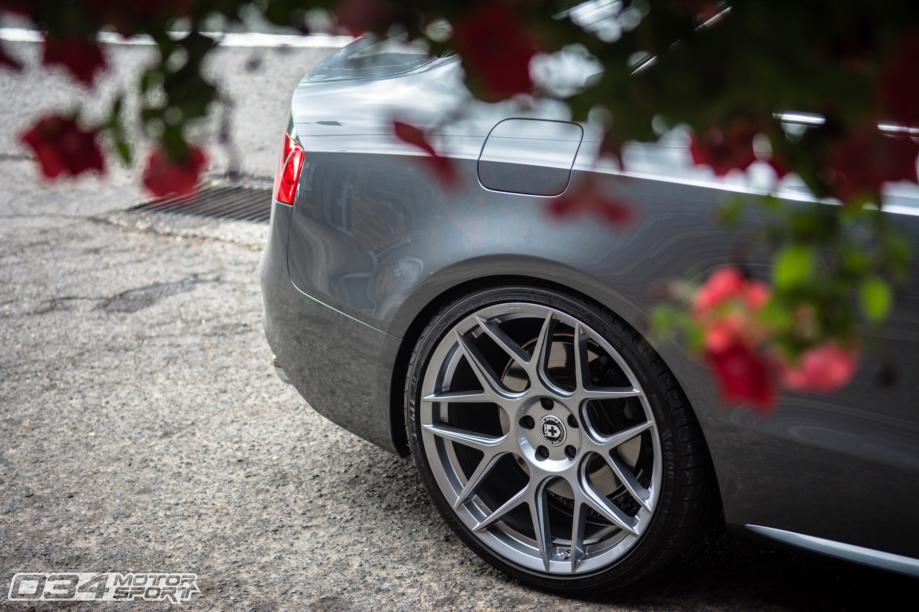 Lowered Monsoon Gray B8.5 Audi S5 on HRE FF01 FlowForm Wheels