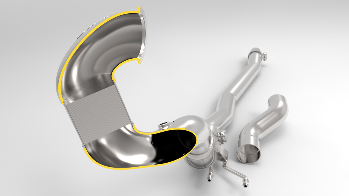 MQB Cast Stainless Steel Performance Downpipe Cutaway