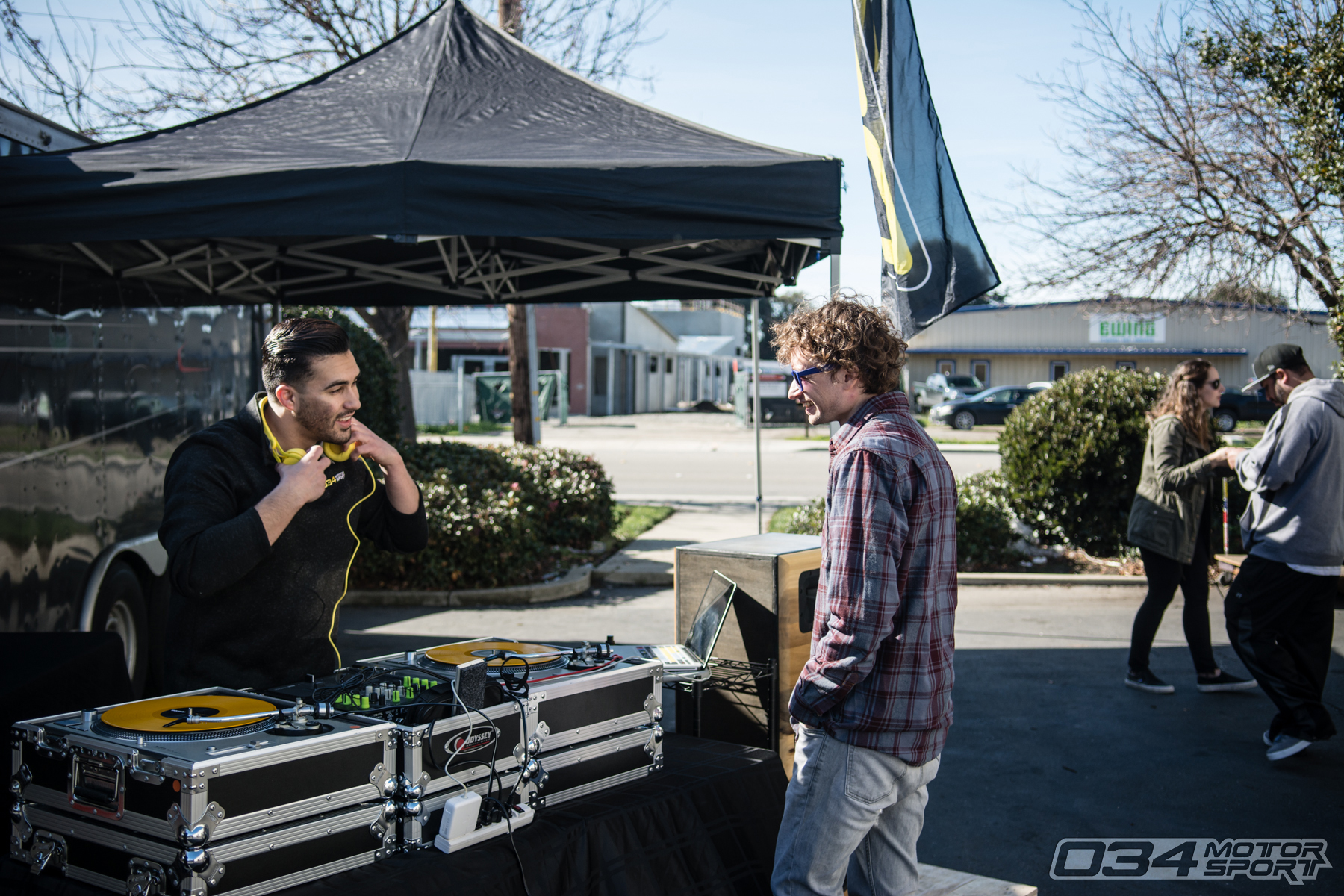DeeJayJRL sets up music at 034Motorsport WinterFest 2018 Open House