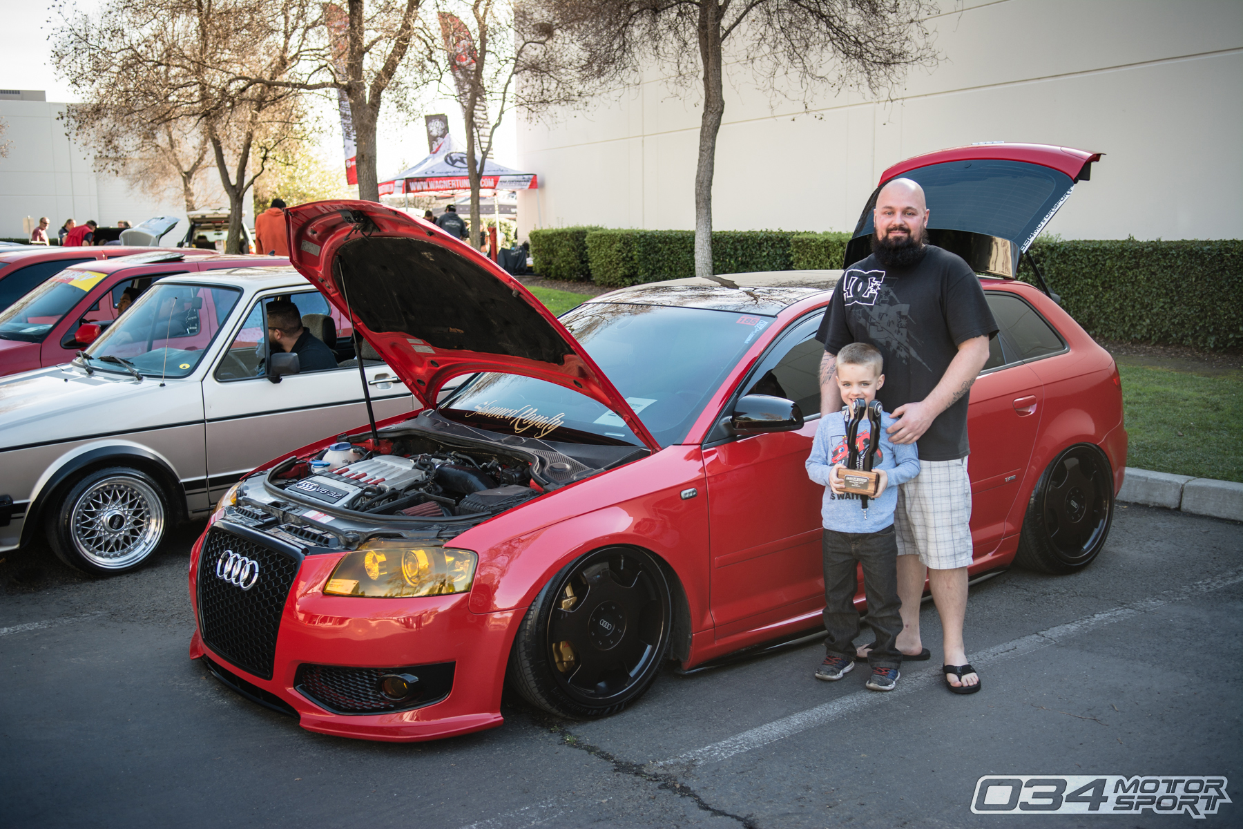 Troy Walters and his son won Best Stance at WinterFest 2018 with a 2006 Audi A3 3.2L