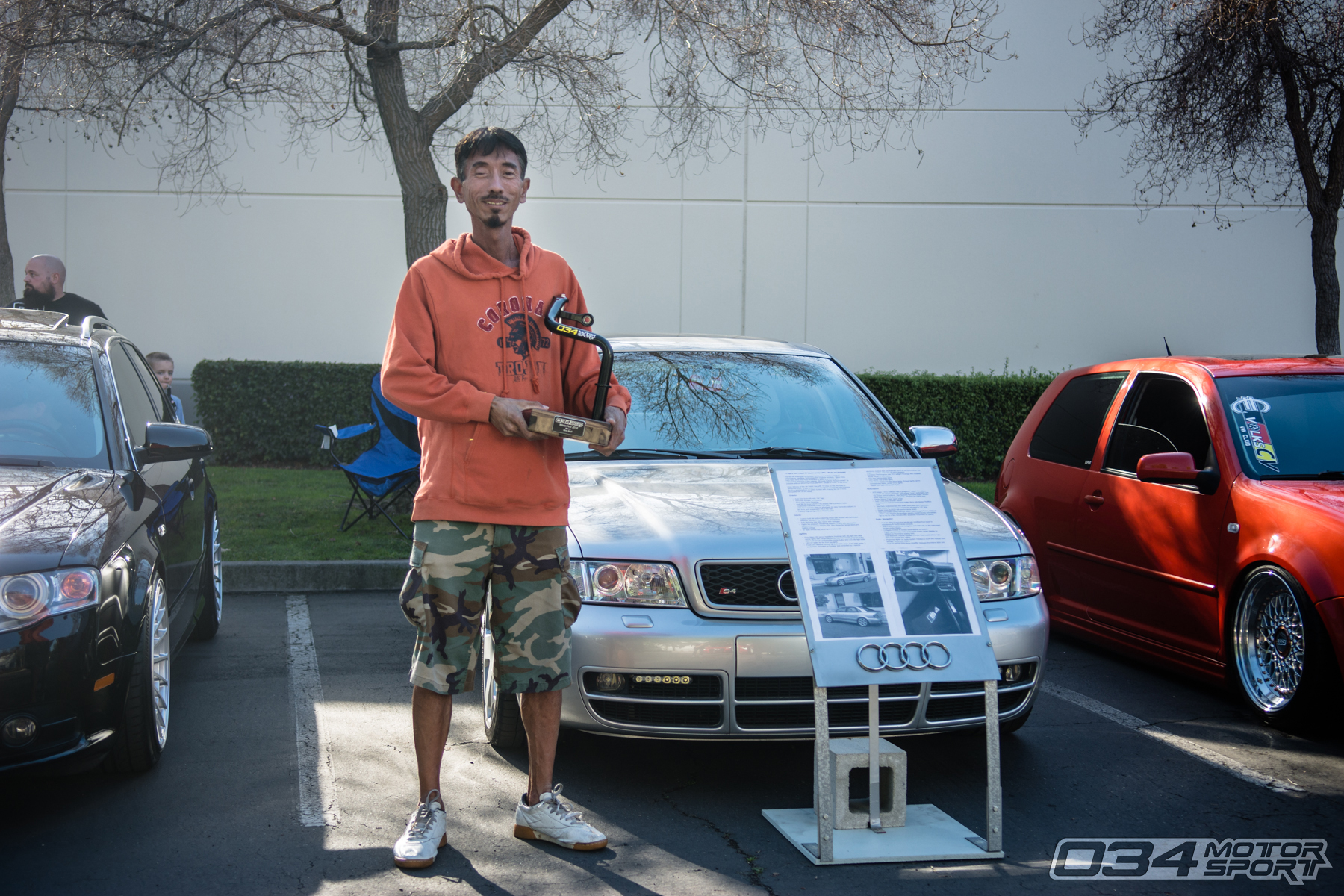 "Ti and his 2001 B5 Audi S4 winning ""Best Audi"" at WinterFest 2018"
