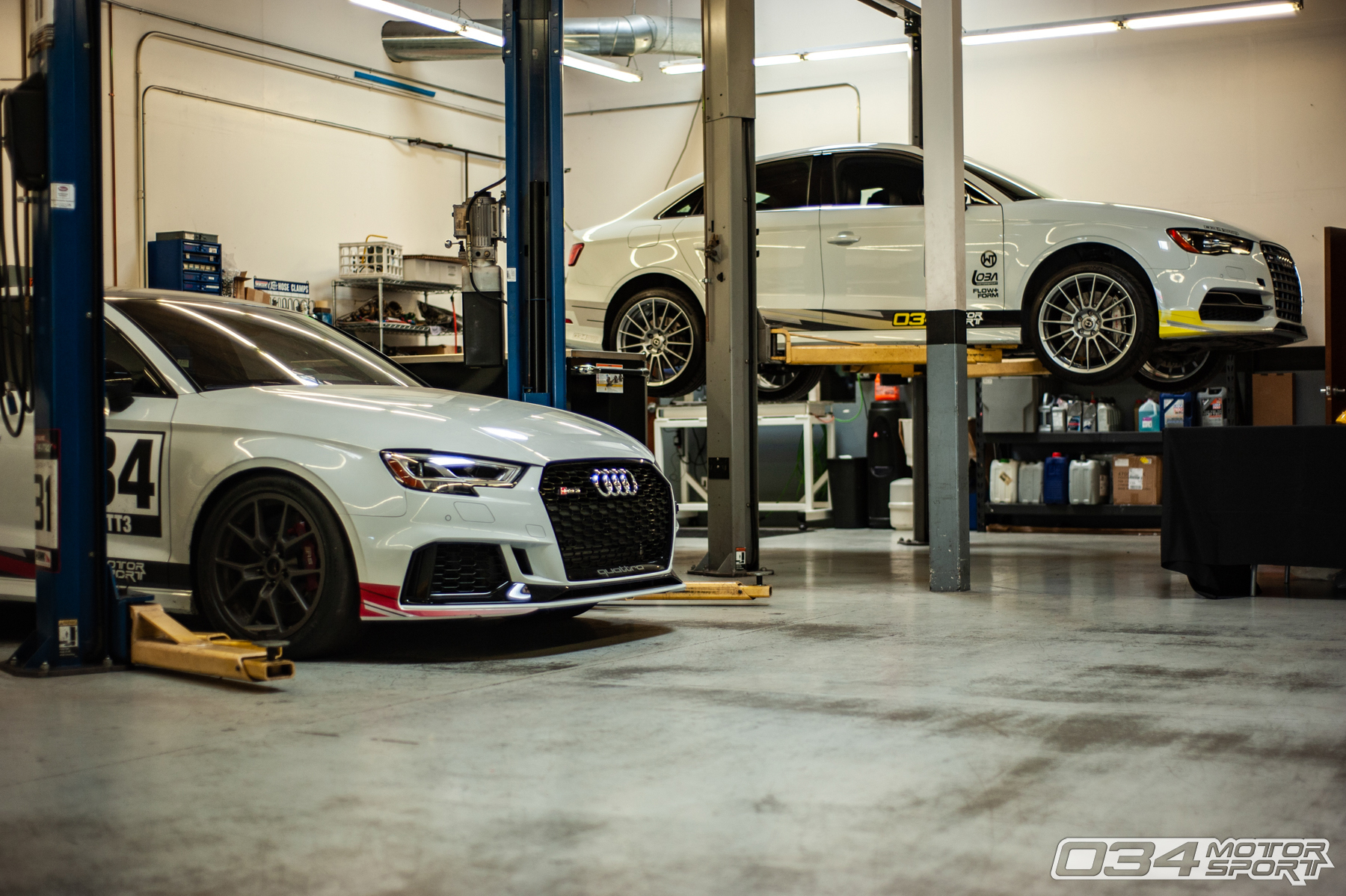 8V Audi RS3 and S3 Development Vehicles in 034Motorsport Service Department